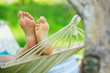 Hammock and woman feet