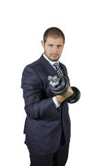 Ragazzo in giacca e cravatta con il peso del lavoro