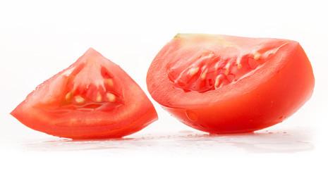 Slices of tomato isolated on white background