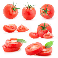 Collection of tomatoes and sliced, isolated on white background