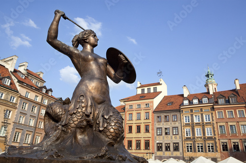 Warsaw's mermaid in market square. Poland.