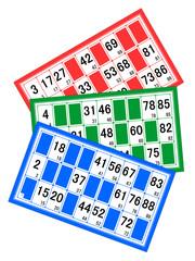 Cartons de loto rouge, vert et bleu en éventail