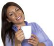 M11 4 Frau lachend mit Kaffeetasse
