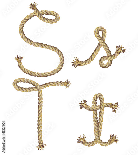 Rope alphabet. vector illustration