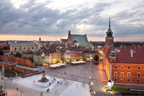 Royal Castle Square in Warsaw old town, at dusk. Poland
