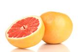 Fototapety Ripe grapefruit and half isolated on white