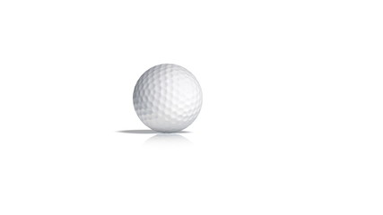Golf ball rolls toward the camera and stops.