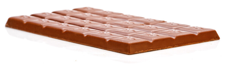 Milk chocolate bar isolated on white background. Side view.