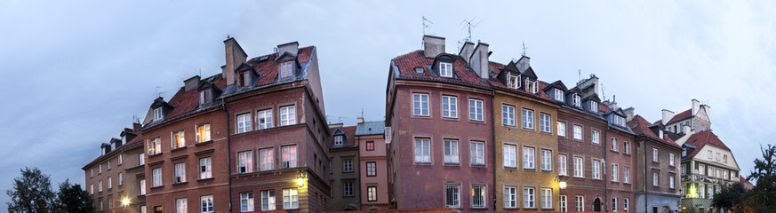 Panorama view of traditional polish homes in Warsaw old town