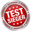 """Button """"Testsieger"""" rot/silber"""