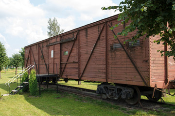 memorial wagon - museum near station Skrunda, Latvia