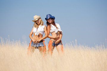 Two girls in field