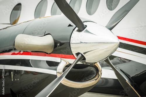 runway reflections off an aircraft propeller