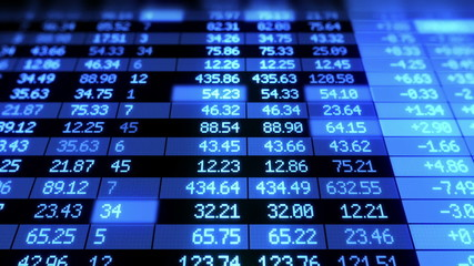 Stock Market board moving. Blue color. Looped animation.