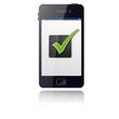 Smartphone mit grünem Häckchen