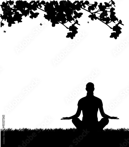 An isolated girl meditating and doing yoga exercise in park