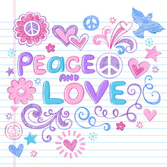 Peace and Love Sketchy Doodles Vector Design