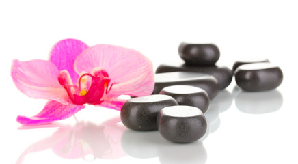 Spa stones with orchid flower isolated on white