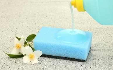 bright sponge and flower  with dish washing liquid
