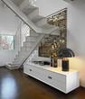 moderno mobile bianco sotto la scala in soggiorno