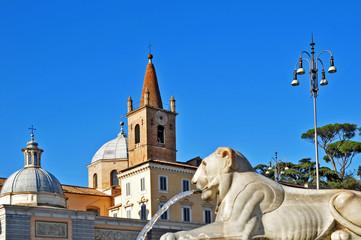 Roma, piazza del Popolo - fontana e santa Maria del Popolo