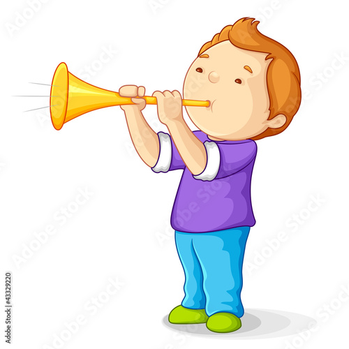 editable vector illustration of boy blowing bullhorn