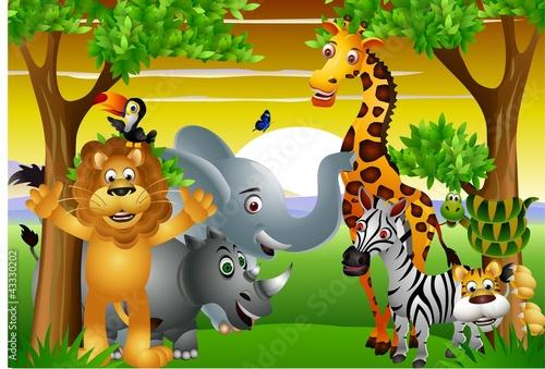 Dziki African cartoon zwierząt z pusty znak
