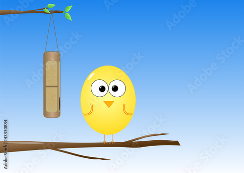 Bird at feeder vector