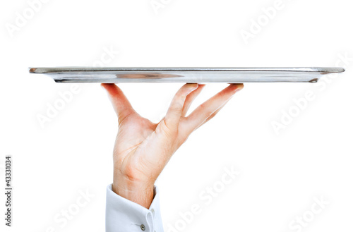 Waiter's hand holding a plate