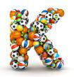Letter K, gaming balls alphabet