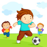 Fototapety vector illustration of kid playing soccer in playground