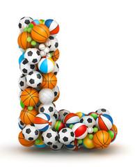 Letter L, gaming balls alphabet