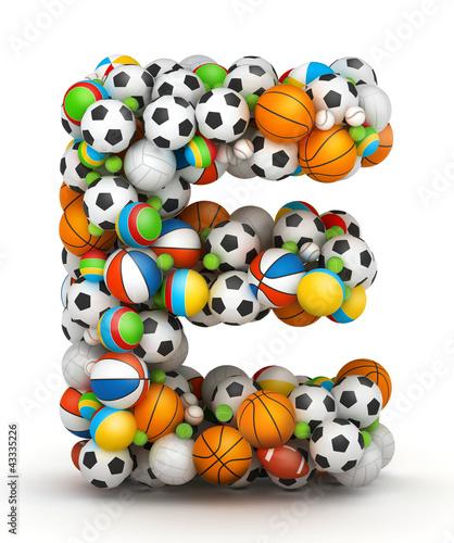 Letter E, gaming balls alphabet