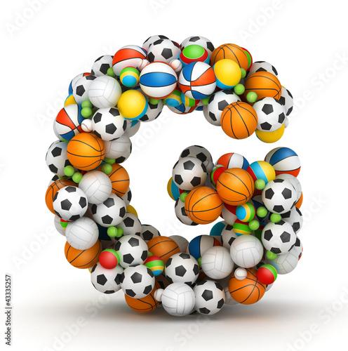 Letter G, gaming balls alphabet