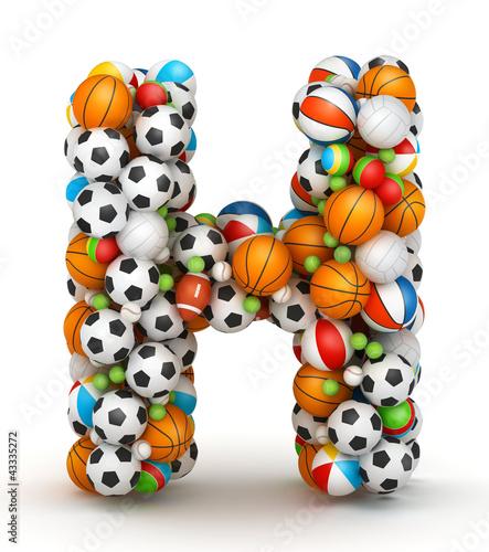 Letter H, gaming balls alphabet