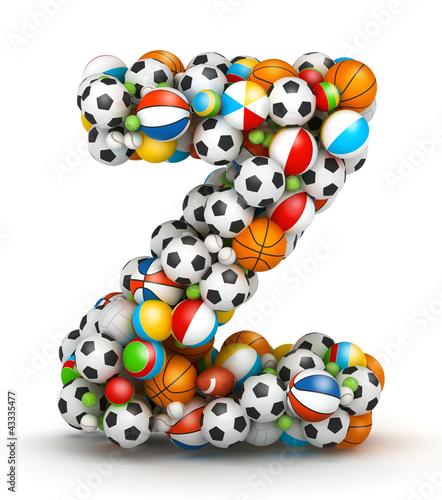 Letter Z, gaming balls alphabet