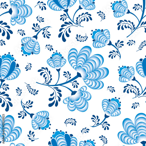 seamless pattern blue flowers on white in russian style Gzhel