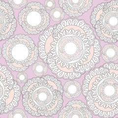 seamless pattern with lacy flowers on lilac background