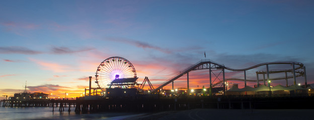 Amusement park on waterfront at night