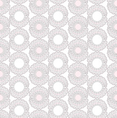seamless pattern with lacy flowers on white background