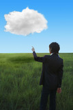 Kazakhstan businesswoman pointing at cloud