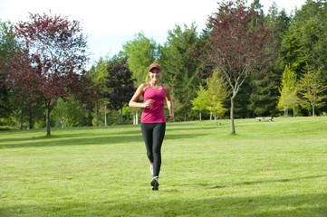 Jogger running through field