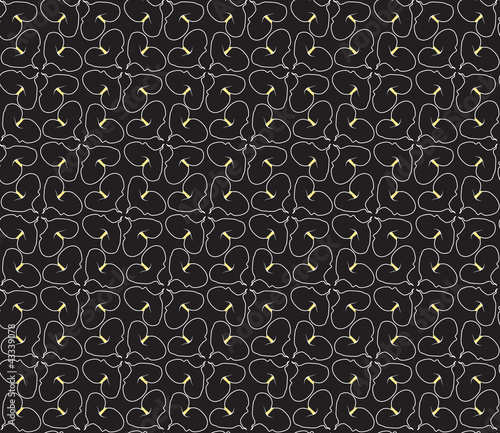seamless pattern with silhouette flowers on black background