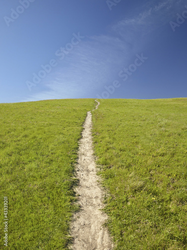 Path up grassy hill