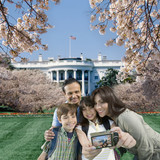Family taking self-portrait near the White House