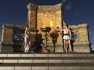 Ancient Grecian flame lighting ceremony