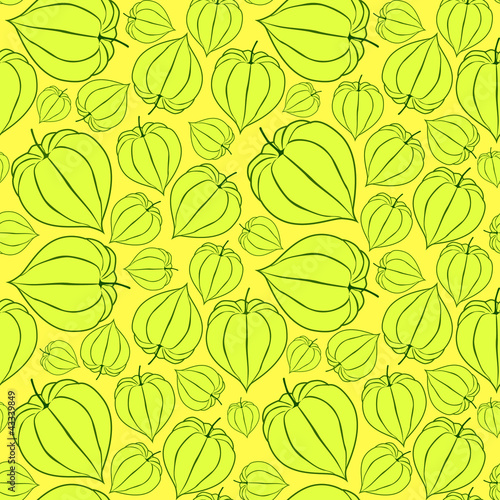 seamless pattern with winter cherry on yellow background, Print