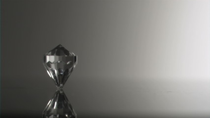 Clear diamond in super slow motion moving