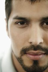 Close up of serious man with beard