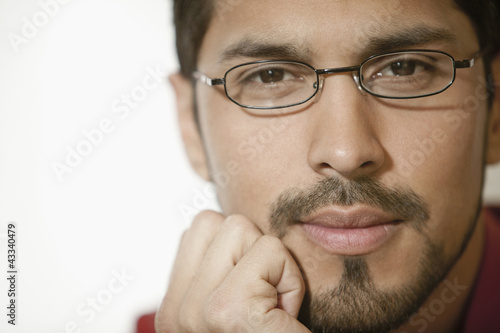 Close up of businessman with beard wearing eyeglasses
